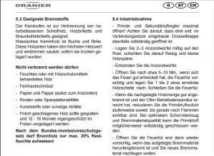 Bedienungsanleitung Kaminofen Oranier | Rechte: Oranier