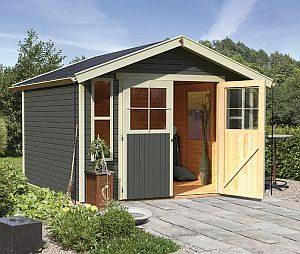 Karibu Gartenhaus Auburg 7 mit Dachrinne aus Holz