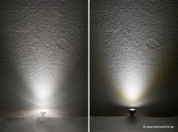 Unterschiedliche Abstrahlwinkel von LEDs (Quelle: http://www.ledmarkt24.de)