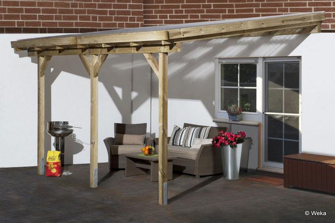Terrassendach aus Holz und Kunststoff