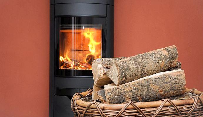 Kaminofen mit Feuerholz