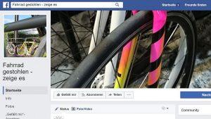 Screenshot Facebook-Seite Fahrrad gestohlen Community