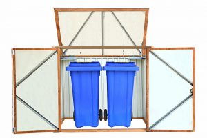 Mülltonnenbox aus Metall, Dekor Eiche | Bild: Duramax