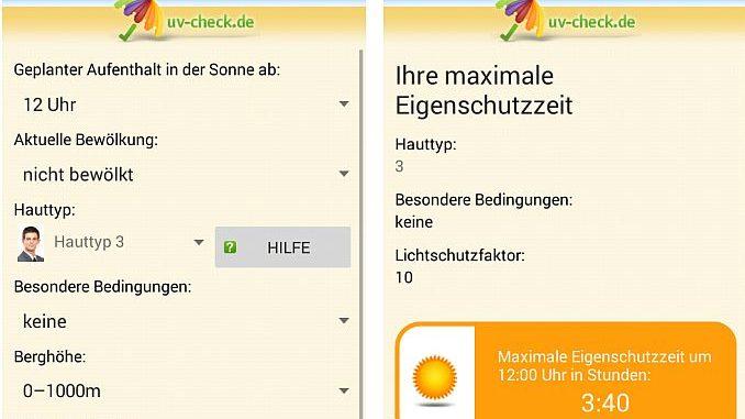 Beispiel für App UV-Check